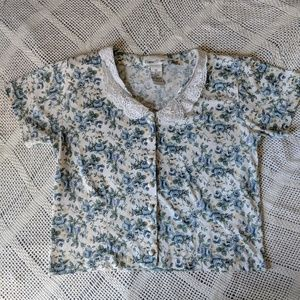 Vintage Peter pan lace collar floral crop top